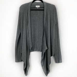 LOU & GREY Asymmetrical Open Front Cardigan Gray